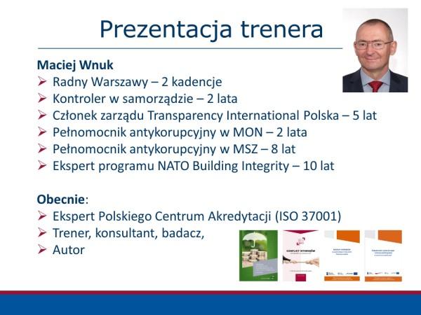 Maciej Wnuk trener antykorupcja sygnaliści compliance etyka